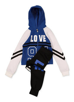 Girls 4-6x Color Block Love 94 Sweatshirt with Joggers - 1607063400043
