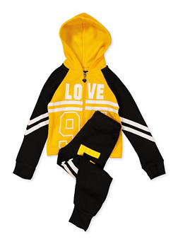 Girls 4-6x Love 94 Hooded Sweatshirt with Joggers - 1607063400045
