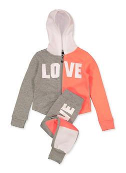 Girls 4-6x Color Block Love Sweatshirt and Joggers Set - 1607063400047