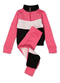 Girls 4-6x Color Block Half Zip Sweatshirt with Joggers - 1607063400050