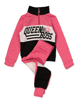 Girls 4-6x Queen Boss Graphic Sweatshirt with Joggers - 1607063400051
