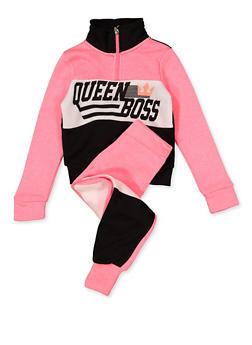 Girls 4-6x Queen Boss Sweatshirt and Joggers Set - 1607063400052