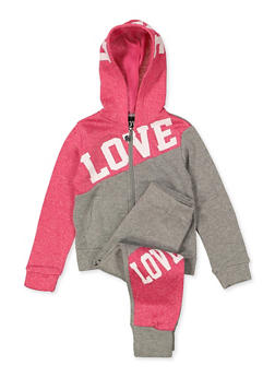 Girls 4-6x Love Color Block Zip Sweatshirt and Joggers Set - 1607063400053