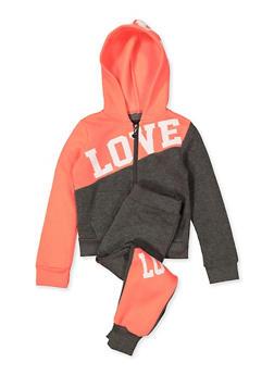 Girls 4-6x Love Color Block Sweatshirt and Joggers - 1607063400054