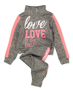 Girls 4-6x Half Zip Love Sweatshirt and Joggers Set - 1607063400055