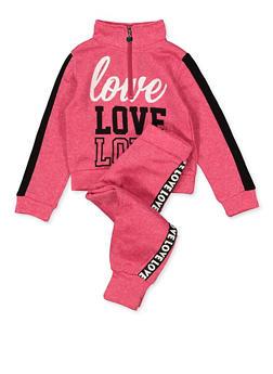 Girls 4-6x Love Graphic Sweatshirt and Joggers Set - 1607063400056