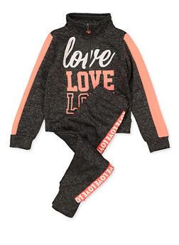 Girls 4-6x Love Sweatshirt and Joggers Set - 1607063400057