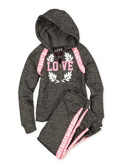 Girls 4-6x Zip Up Love Sweatshirt and Joggers Set - 1607063400061