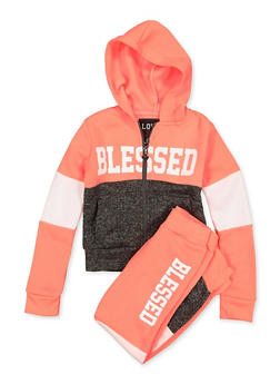 Girls 4-6x Blessed Color Block Sweatshirt and Joggers - 1607063400063
