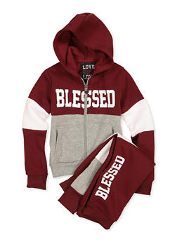 Girls 4-6x Blessed Sweatshirt and Joggers - 1607063400064