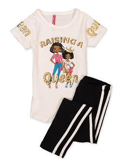 Girls 4-6x Raising A Queen Tee with Leggings - 1607066590001