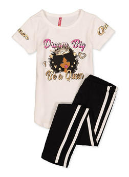 Girls 4-6x Dream Big Be A Queen Tee with Leggings - 1607066590002
