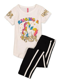 Girls 4-6x Raising A Unicorn Tee with Leggings - 1607066590006