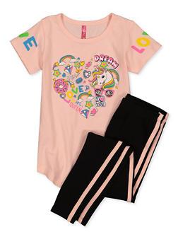 Girls 4-6x Love Unicorn Graphic Tee and Leggings Set - 1607066590007