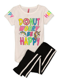 Girls 4-6x Donut Worry Be Happy Tee and Leggings Set - 1607066590008