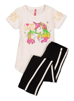 Girls 4-6x I Love My Mom Unicorn Tee and Leggings Set - 1607066590011