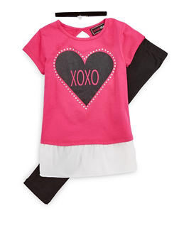 Girls 4-6x Heart Graphic T Shirt with Leggings and Choker - 1607073990001