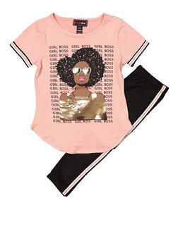 Girls 4-6x Girl Boss Tee with Striped Tape Leggings - 1607073990017