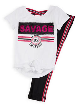 Girls 4-6x Savage Sequin Tee with Leggings - 1607073990019