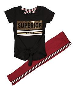 Girls 4-6x Superior Sequin Tee with Leggings - 1607073990022
