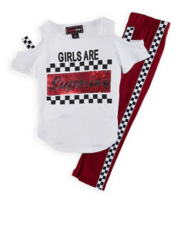 Girls 4-6x Girls Are Superior Sequin Tee with Leggings - 1607073990024