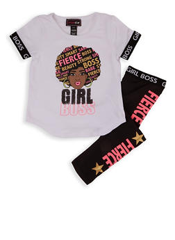 Girls 4-6x Girl Boss Sequin Graphic Tee and Leggings - 1607073990031