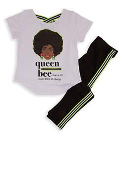 Girls 4-6x Queen Bee Sequin Graphic Tee and Leggings - 1607073990033