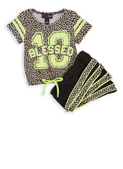 Girls 4-6x Blessed Sequin Leopard Top with Leggings - 1607073990040
