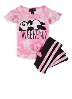 Girls 4-6x Panda Tie Dye Top with Leggings - 1607073990041