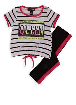 Girls 4-6x Queen Boss Sequin Striped Top with Leggings - 1607073990043