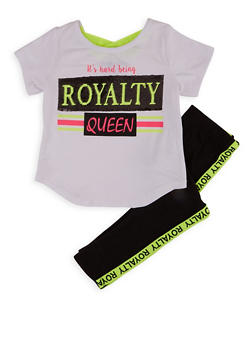 Girls 4-6x Royalty Sequin Top and Leggings - 1607073990045