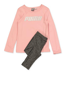 Girls 4-6x Puma Long Sleeve Tee with Leggings Set - 1607075230006
