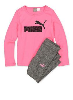 Girls 4-6x Puma Glitter Tee and Leggings - 1607075230017
