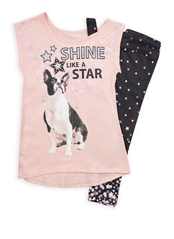 Girls 7-16 Star Graphic T Shirt with Leggings - BLACK - 1608023130009