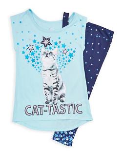 Girls 7-16 Star Graphic T Shirt with Leggings - NAVY - 1608023130009
