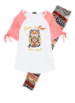 Girls 7-16 Owl Graphic Top and Aztec Print Leggings - 1608038340001