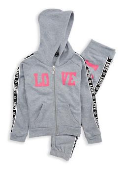 Girls 7-16 Love Foil Graphic Sweatshirt and Sweatpants - 1608038340019