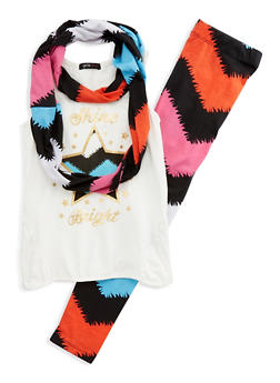 Girls 7-16 Tank Top with Printed Leggings and Scarf Set - 1608038340029