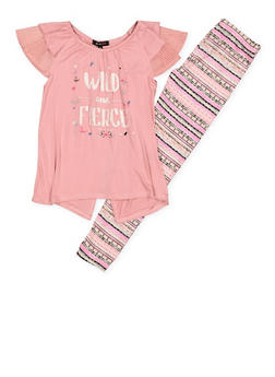 Girls 7-16 Wild and Fierce Top with Printed Leggings - 1608038340055