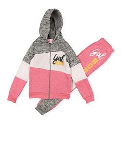 Girls 7-16 Girl Boss Color Block Sweatshirt and Joggers - 1608038340101