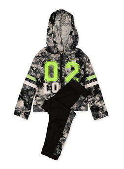 Girls 7-16 02 Love Hooded Tie Dye Top and Joggers Set - 1608038340110