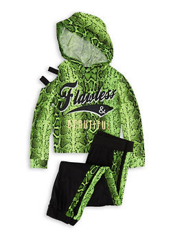 Girls 7-16 Flawless Snake Print Hooded Top and Joggers - 1608038340111