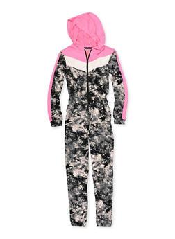 Girls 7-16 Tie Dye Hooded Jumpsuit - 1608038340114