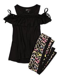Girls 7-16 Tie Sleeve Cold Shoulder Top and Printed Leggings - 1608038340118