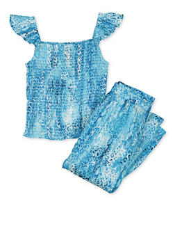 Girls 7-16 Smocked Tie Dye Top with Palazzo Pants - 1608038340128