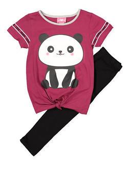 Girls 7-16 Panda Graphic Tee and Leggings - 1608048370031