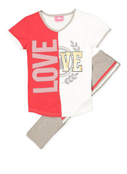 Girls 7-16 Love Tee and Active Pants Set - 1608048370032