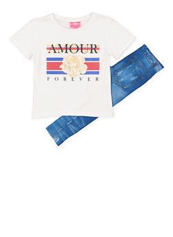 Girls 7-16 Amour Forever Tee with Denim Print Leggings - 1608048370036