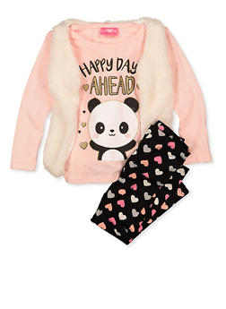 Girls 7-16 Happy Days Ahead Tee with Leggings and Vest - 1608048370040