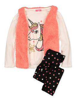 Girls 7-16 Glitter Unicorn Top with Vest and Leggings - 1608048370041